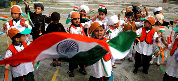 School Kids celebrating Independence Day of India